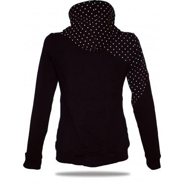 Ladies hoodie with zipper Barrsa Dots Black/Black