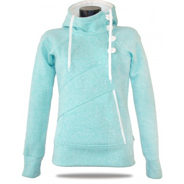 Barrsa Snow Red/Melange – Women's pull hoodie with a stand-up collar