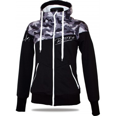 Ladies softshell jacket-hoodie with zipper Barrsa Double Soft Script White Camo/Black