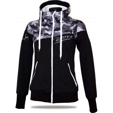Ladies softshell jacket-hoodie with zipper Barrsa Double Soft Script White Camo/Black