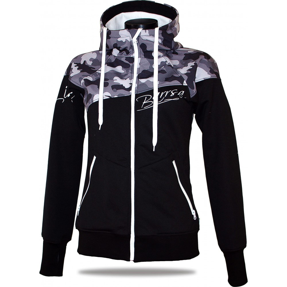 0e5c28b4af71e Ladies softshell jacket-hoodie with zipper Barrsa Double Soft Script White  Camo/Black | Barrsa Fashion