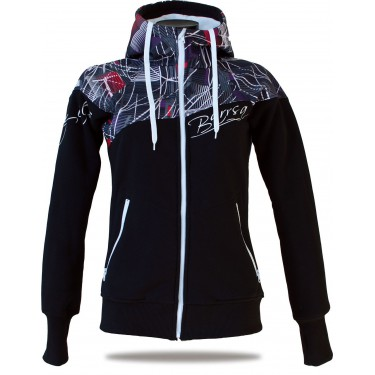 Ladies softshell jacket-hoodie with zipper Barrsa Double Soft Script White Sprinter/Black