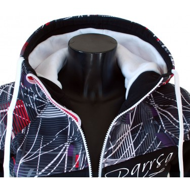 Dámská softshell bundomikina s kapucí na zip Barrsa Double Soft Script White Sprinter/Black