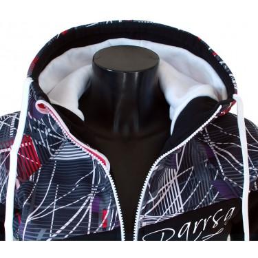 Ladies softshell jacket-hoodie with zipper Barrsa Double Soft Script White Sprinter/Black