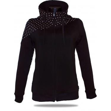 Dámská mikina s kapucí na zip Barrsa Dots Black/Black