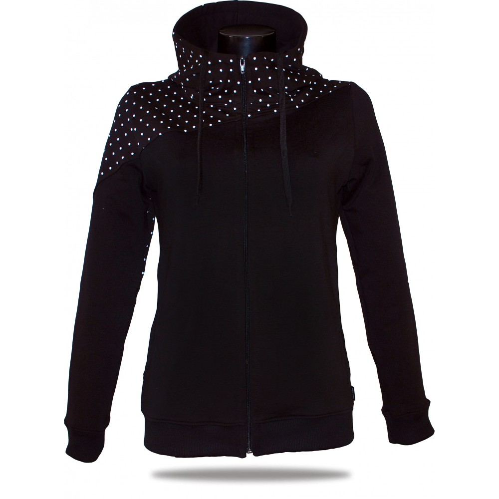Ladies hoodie with zipper Barrsa Dots Black/Black