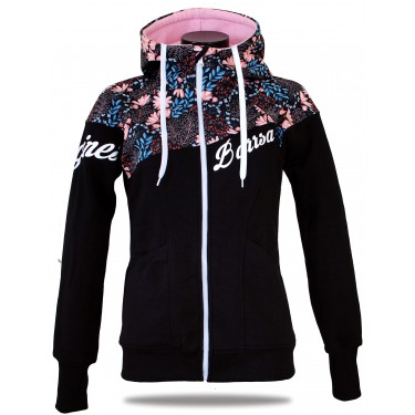 Ladies softshell jacket-hoodie with zipper Barrsa Double Soft Script BALACK/FUXIE