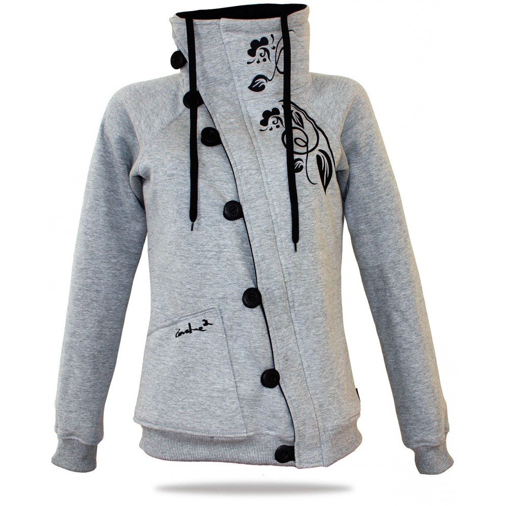 Barsen Grey – Women s deluxe button down hoodie with a stand-up collar 076bea37d4