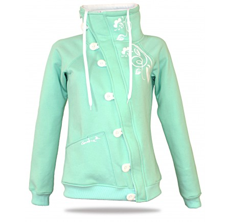 Barsen Grey – Women's deluxe button down hoodie with a stand-up collar