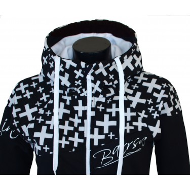 Dámská softshell bundomikina s kapucí na zip Barrsa Double Soft Script Black Cross/Black/White