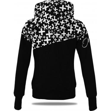 Dámska softshell bundomikina s kapucňou na zips Barrs Double Soft Script White Cross / Black /White