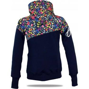 Dámská softshell bundomikina s kapucí na zip Barrsa Double Soft Script Blue/Blue/Fuxie