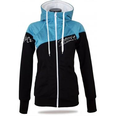 modrá dámská mikina či bunda, originální česká výroba, hoodie s kapucí, na zip