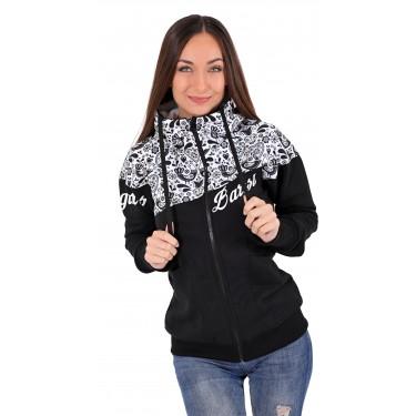 teplá dámská mikina, černo-bílá, moderní, sportovní s kapucí