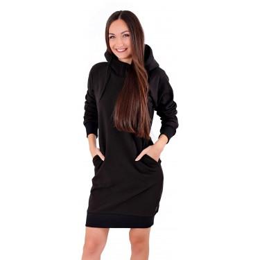 prodloužená mikina, bavlna, dlouhá, černá, stylová, s kapucí, česká značka