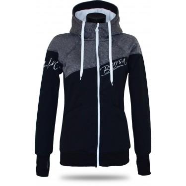mikina či bunda pro ženy v šedo-černé barvě, stahovací kapuce, originální vzhled, česká značka Barrsa