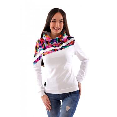 Moderní mikina pro ženy, sportovní vzhled, originální střih, bílá barva, s kapucí, přes hlavu (hoodie), barevná.