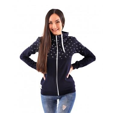 Lehká dámská mikina s kapucí a stojáčkem, námořnická modrá barva, potisk, kapuce, zip, kapsy, česká značka