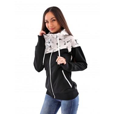 černo-bílá dámská mikina (bunda) se zipem a kapucí, česká výroba