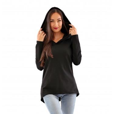 dámská mikina či kabátek s kapucí, v černé barvě, moderní střih, elegantní