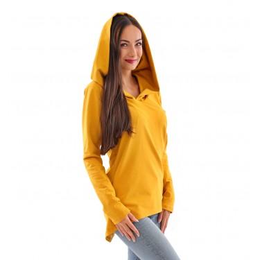 Dámská mikina či lehký kabátek ve žluté (hořčicové) barvě je velmi moderní. Delší mikina s kapucí, přes hlavu, český výrobek.