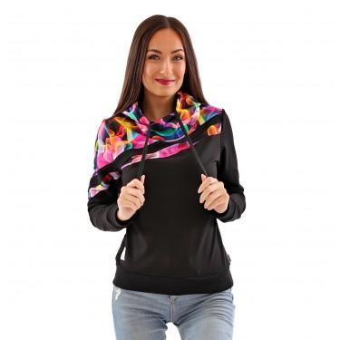 Barevná dámská mikina, originální střih, s kapucí, přes hlavu, černá barva. Česká značka Barrsa.