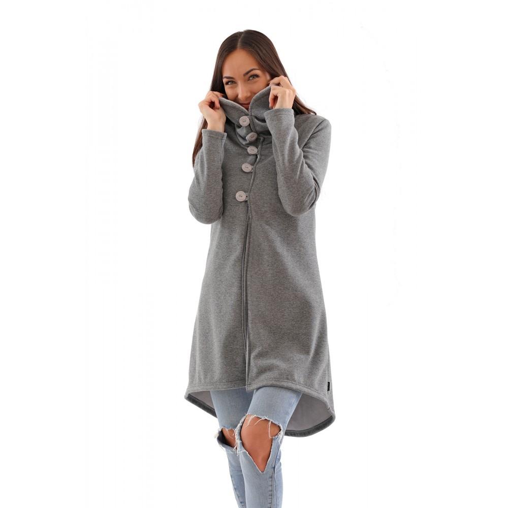 dámský kabát, kabátek, šedá barva, límec, český výrobce, kvalitní