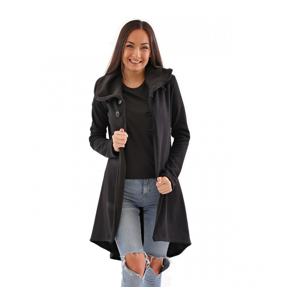 Dlouhý dámský kabátek či svetr s límcem a kožíške, černá barva, česká značka