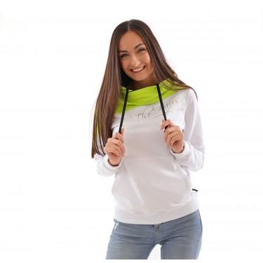 moderní hoodie mikina s kapucí, pro ženy, limetková barva, přes hlavu, české oblečení