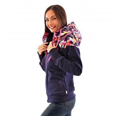 barevná mikina (bunda) se softshellem, kapuce na stažení, zip, kapsy